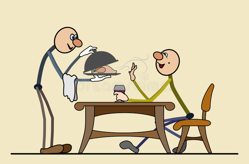 Expensive restaurant - rich cuisine, the customer is satisfied. The waiter brought a fragrant duck, the client appreciated spread out in layers. For printing royalty free illustration