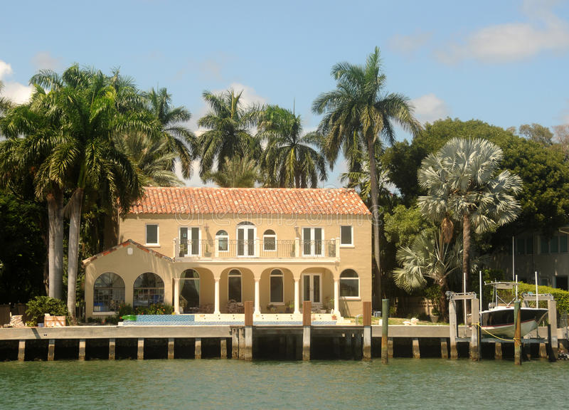 Expensive waterfront home stock photos