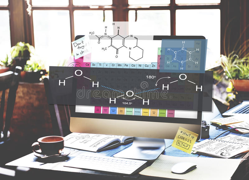 Experiência Atom Chemistry Concept da fórmula fotos de stock