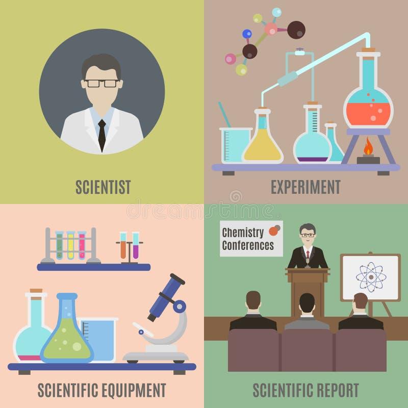 Experiência científica e equipamento ilustração royalty free