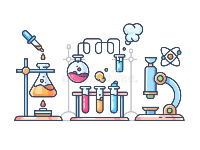 Experiência científica química ilustração royalty free