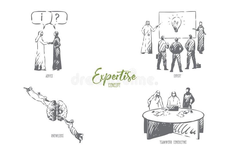 Experiência, conselho, perito, conhecimento, esboço de consulta do conceito dos trabalhos de equipe ilustração royalty free