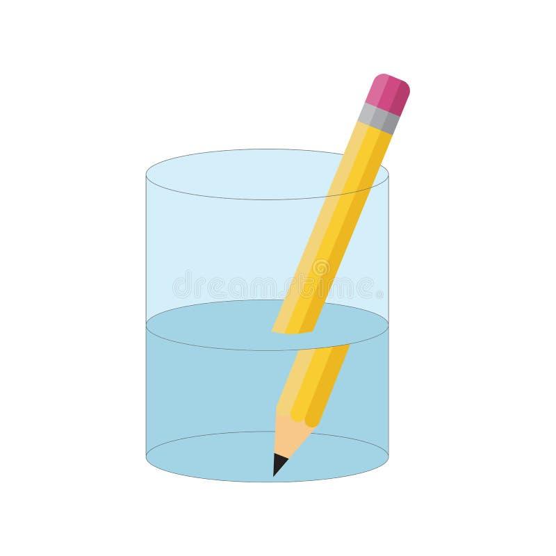 Experiência de dobra do lápis Refraction da luz ilustração do vetor