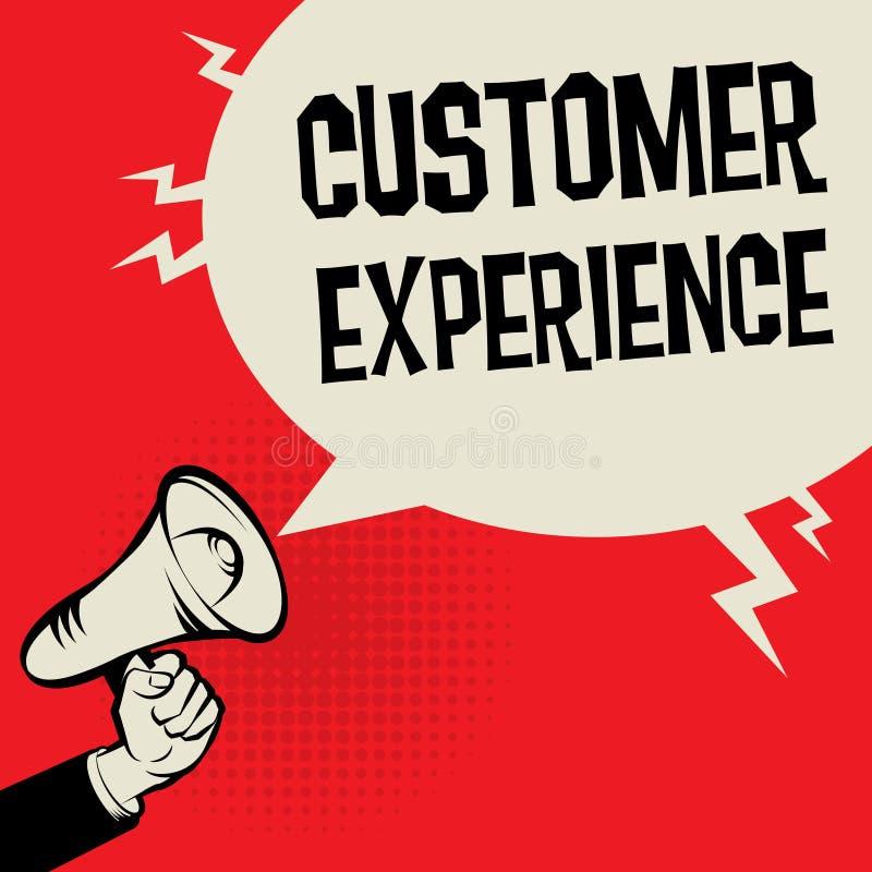 Experiência do cliente do conceito do negócio da mão do megafone ilustração do vetor