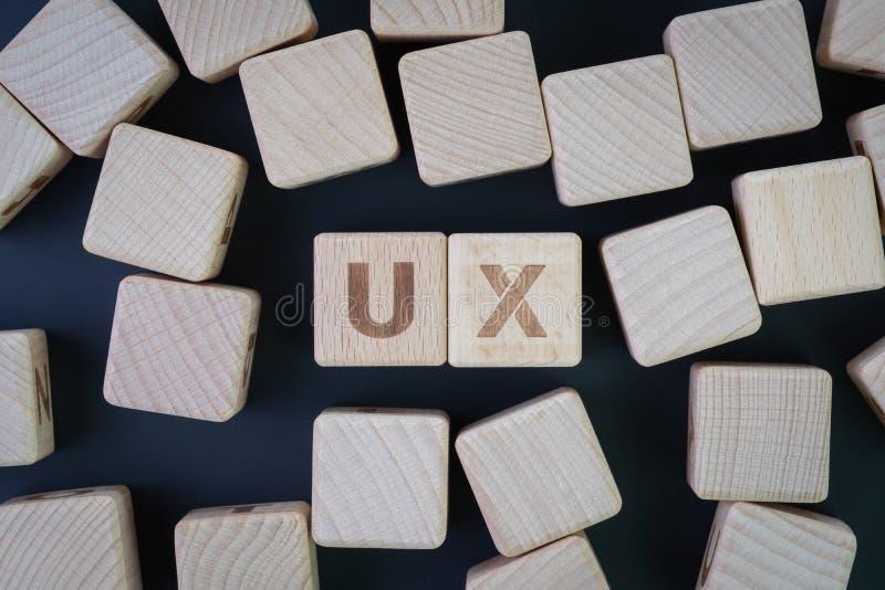 Experiência do usuário, projeto de UX, teste de usabilidade ou conceito da pesquisa, ideia colocada ou superior lisa do bloco de  fotografia de stock royalty free