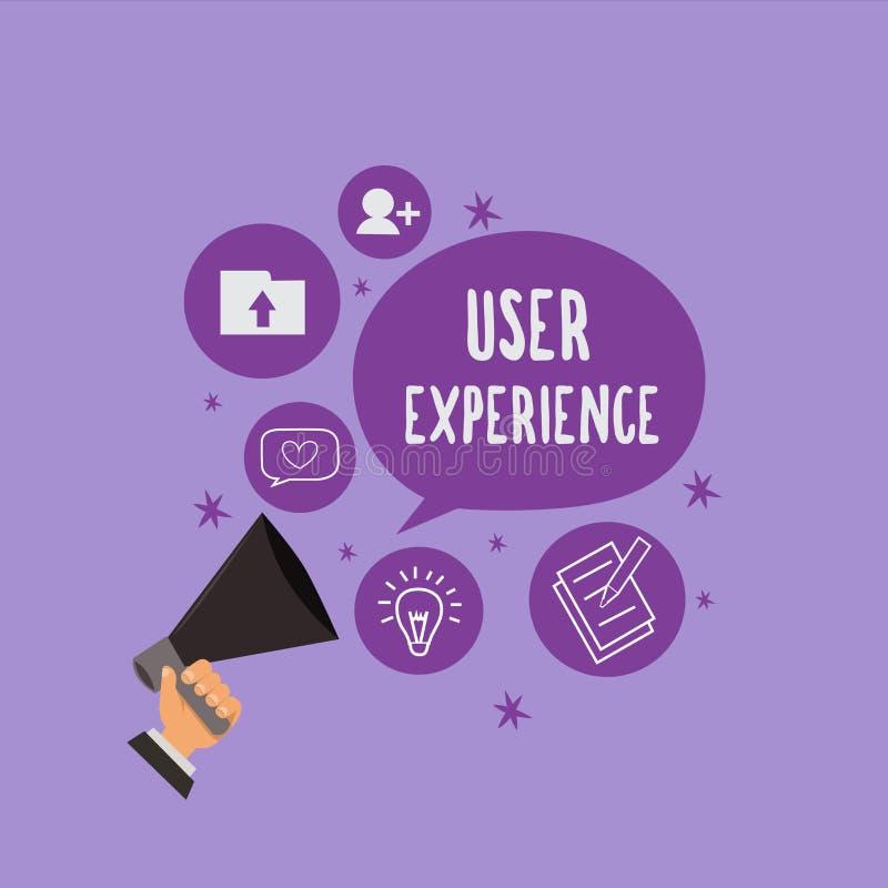 Experiência do usuário do texto da escrita Significado do conceito usando o Web site especialmente nos termos como o satisfazer é ilustração royalty free