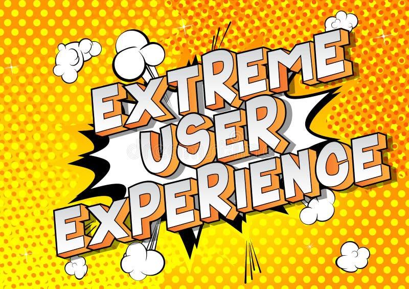 Experiência extrema do usuário - palavras do estilo da banda desenhada ilustração stock