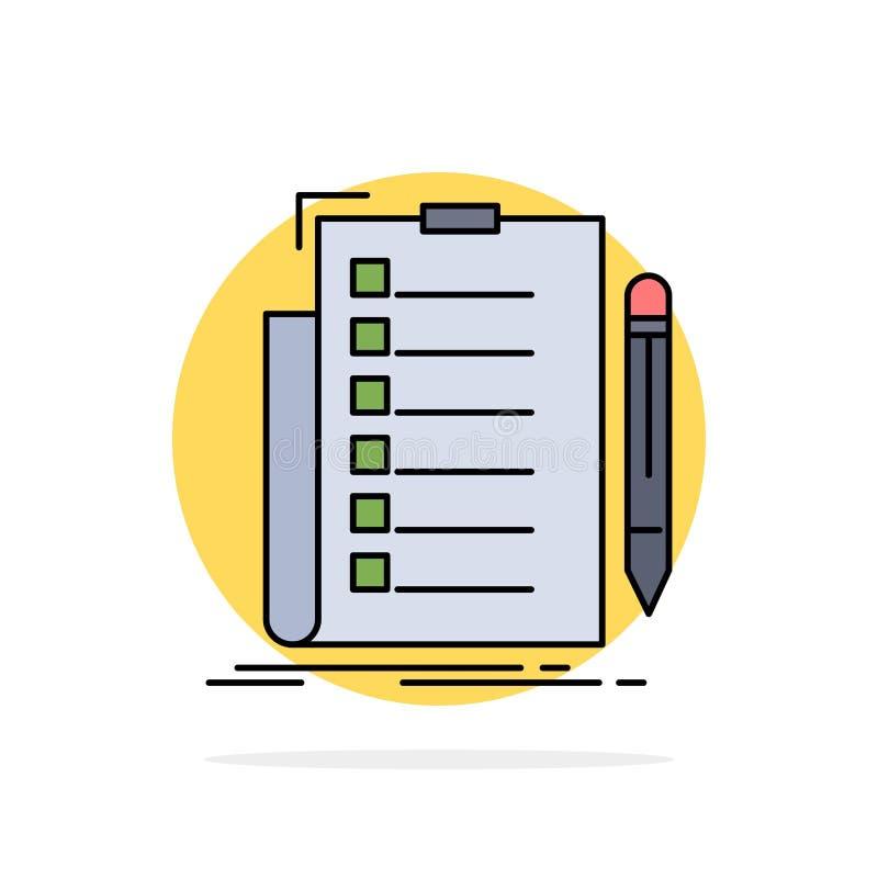experiência, lista de verificação, verificação, lista, vetor liso do ícone da cor do documento ilustração do vetor