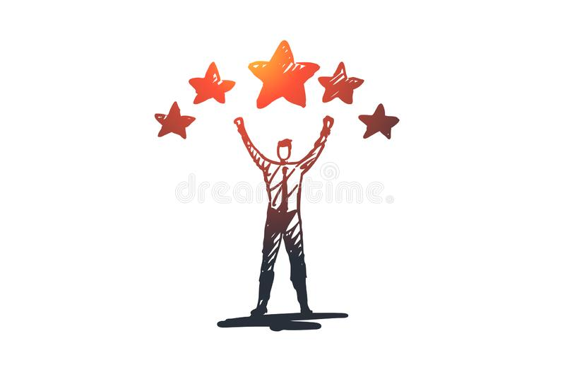 Experiência, satisfação, positivo, conceito de avaliação Vetor isolado tirado mão ilustração stock