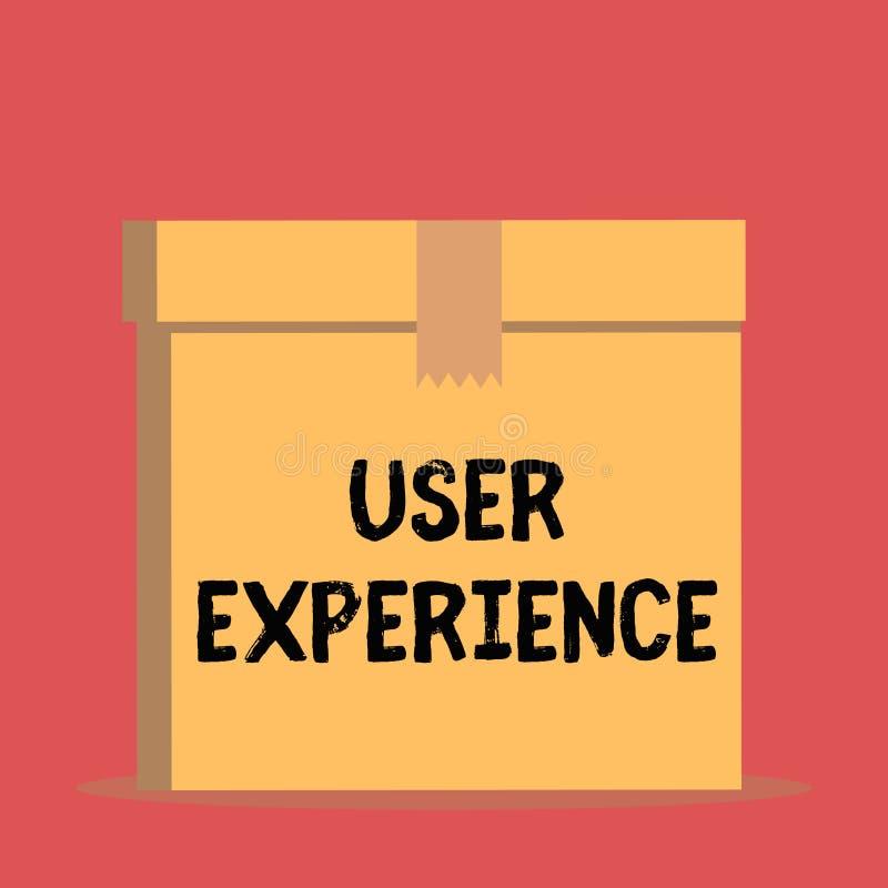 Experi?ncia do usu?rio do texto da escrita Significado do conceito usando o Web site especialmente nos termos como agradável é se ilustração stock
