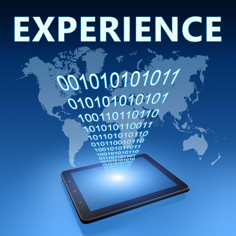 Experience. Illustration with tablet computer on blue background stock illustration
