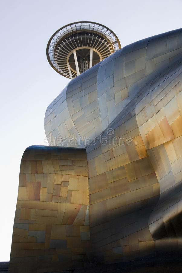 Experience Music Project and Space Needle at Seattle - 1 royalty free stock images