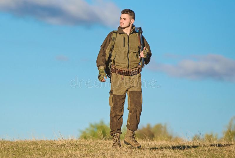 Experience and practice lends success hunting. Hunting hobby. Guy hunting nature environment. Masculine hobby activity stock image