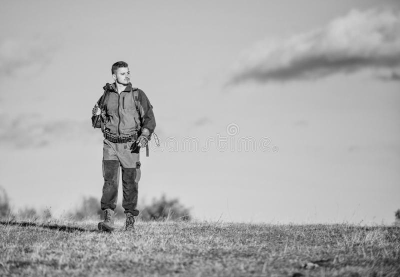 Experience and practice lends success hunting. Hunting weapon gun or rifle. Hunting hobby. Guy hunting nature royalty free stock photo
