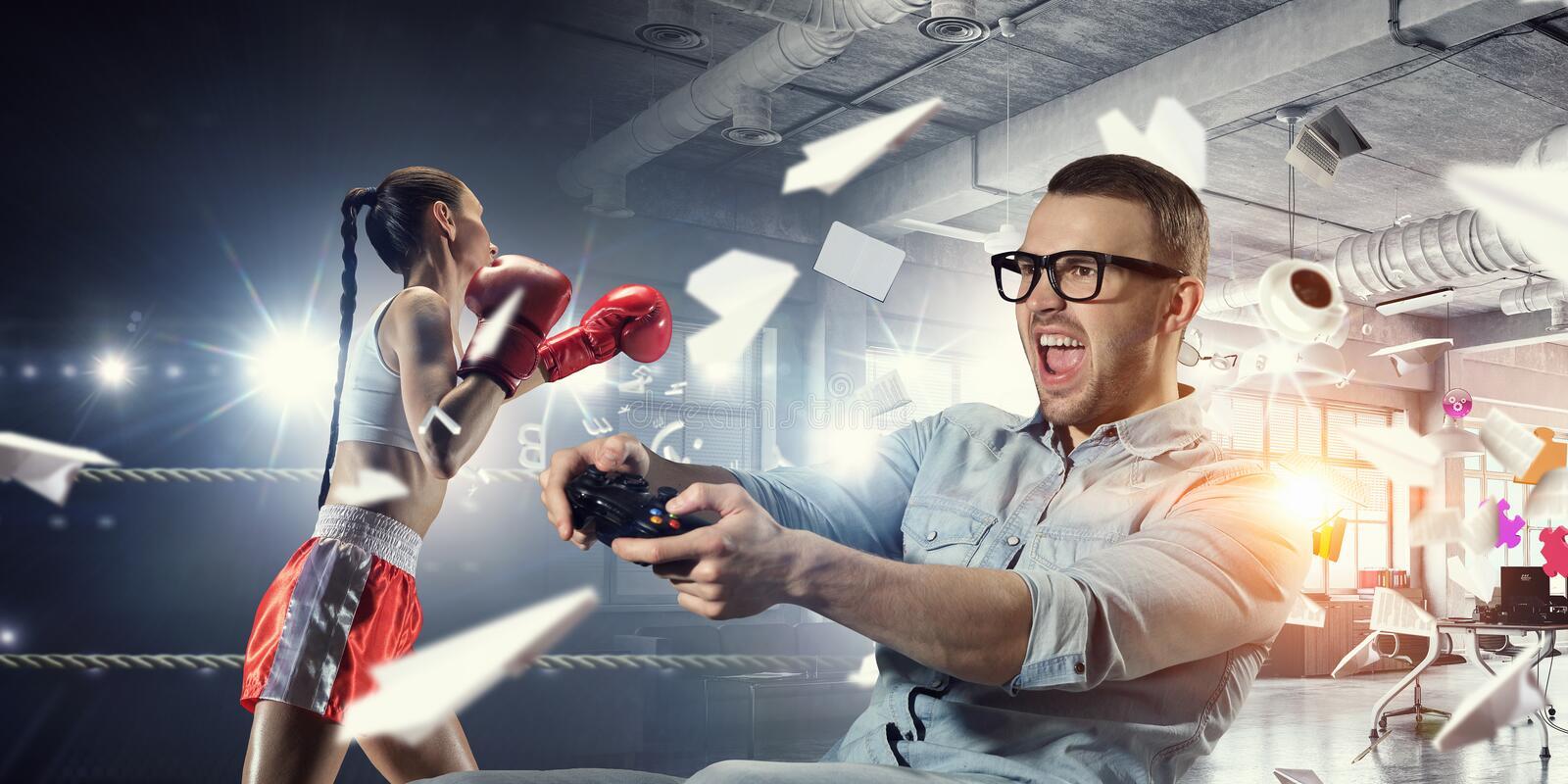 Experience the reality of game. Mixed media stock photos