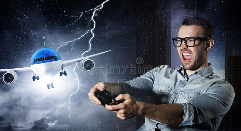 Experience the reality of game. Mixed media royalty free stock photo