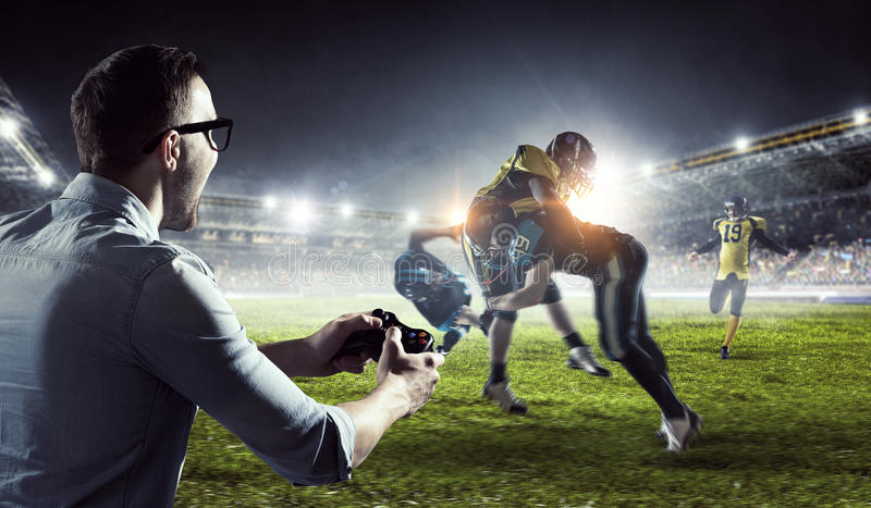 Experience the reality of game. Mixed media stock photography