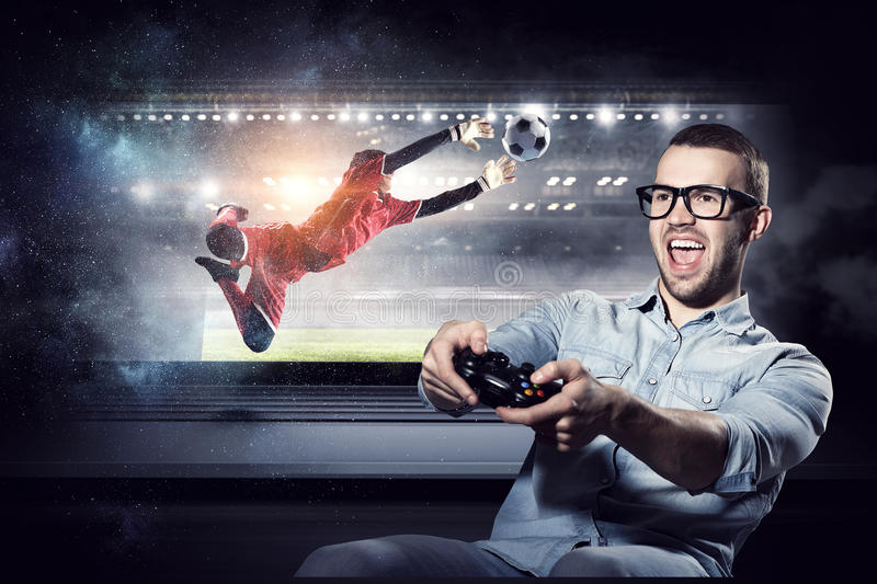 Experience the reality of game. Mixed media stock image