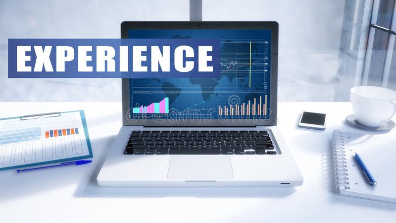 Experience. Text on modern laptop screen in office environment. 3D render illustration business text concept vector illustration