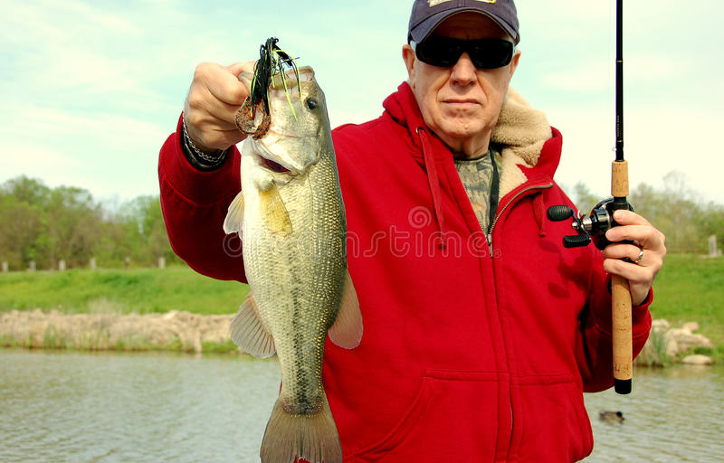 Experienced angler. Experienced senior angler holding large mouth bass closeup stock images