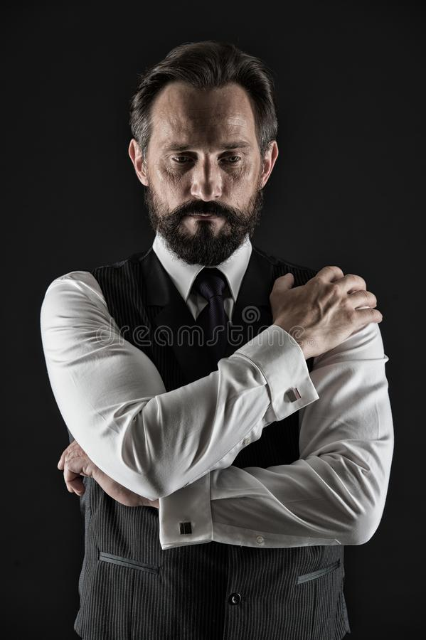 Experienced businessman. Businessman classic formal clothing hold hands crossed on chest. Business advice more royalty free stock photo
