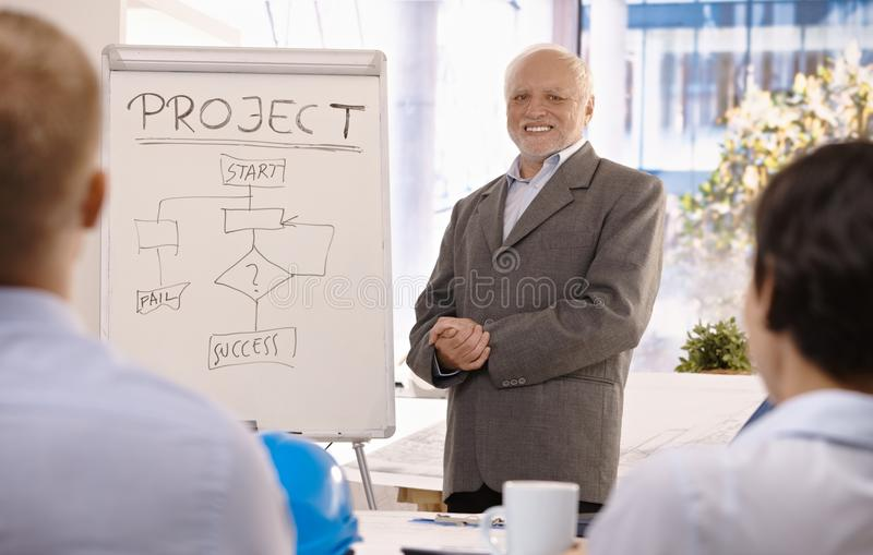 Experienced businessman training group in office royalty free stock image