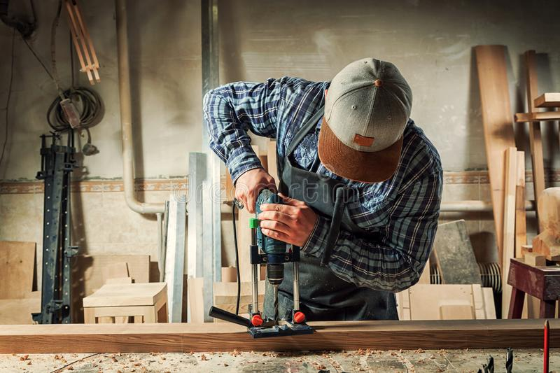 Experienced carpenter work stock photo