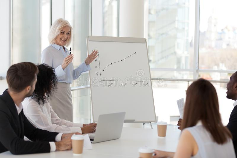 Experienced coach presenting report showing sales increasing on flipchart stock photo