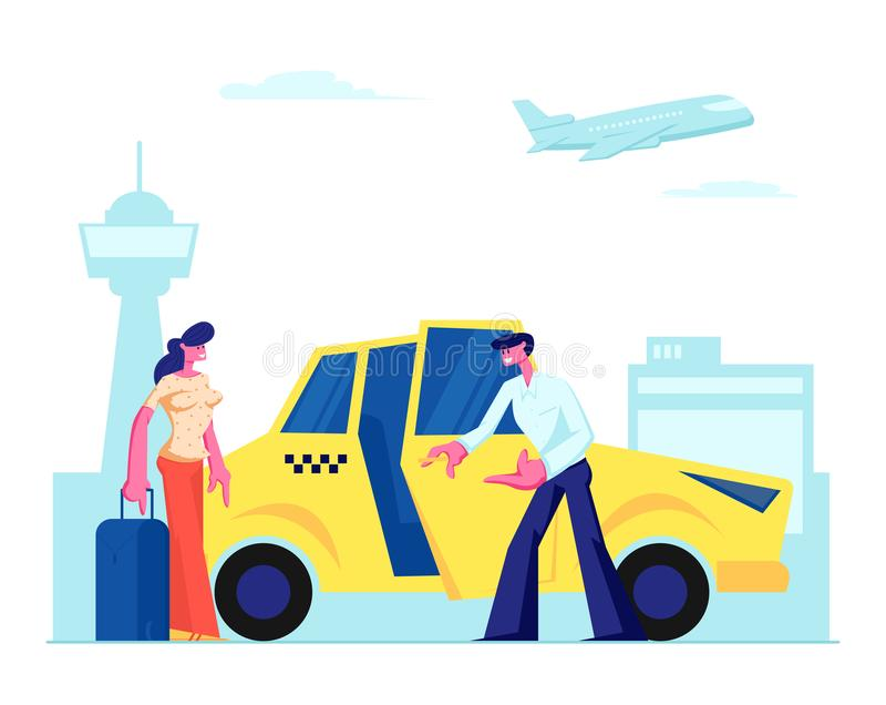 Experienced Driver Invite Girl Passenger to Car on Airport Background. Woman with Luggage Going to Sit in Yellow Cab. Character Ordered Taxi in City stock illustration