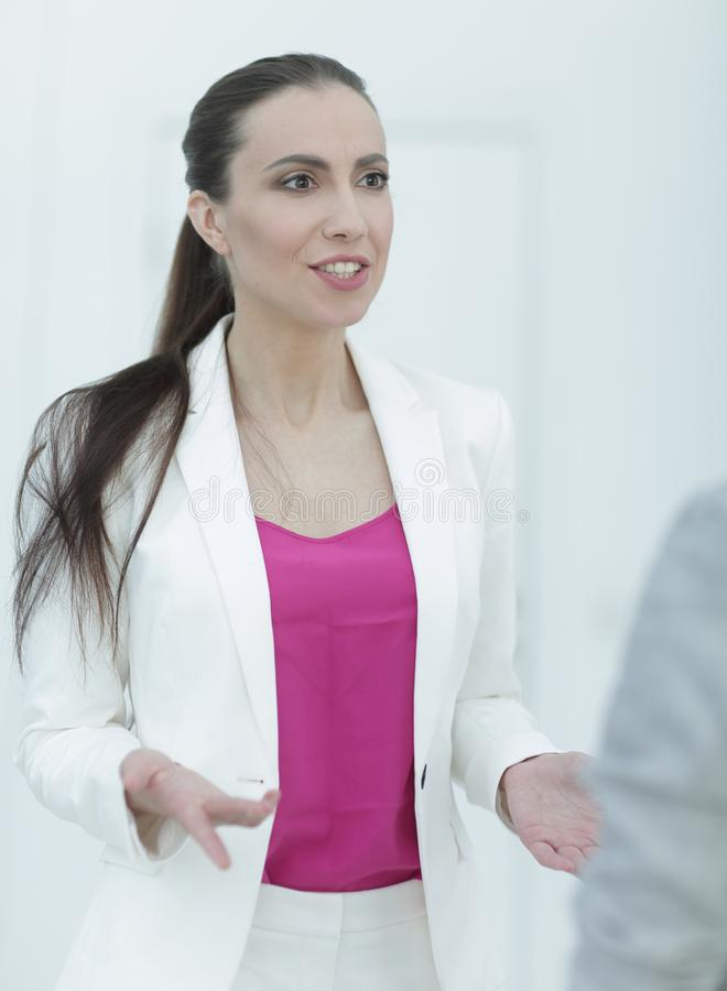 Experienced female Manager talking to a customer stock photos