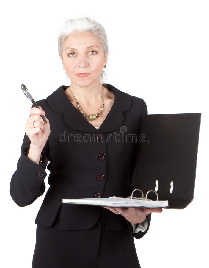Experienced lawyer holding a contract royalty free stock images