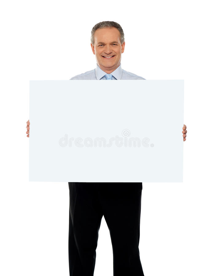 Experienced male representative with ad board. Experienced male representative with blank white ad board stock photos