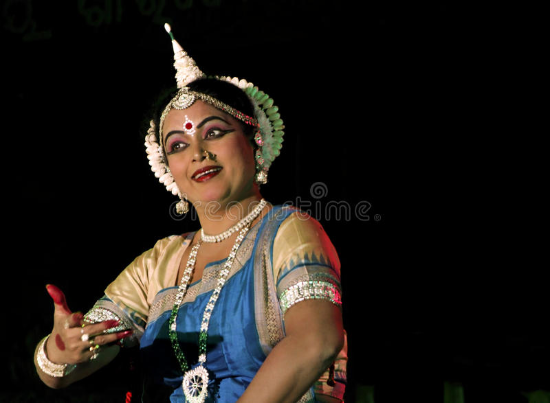 Experienced Indian traditional dancer performing o stock image