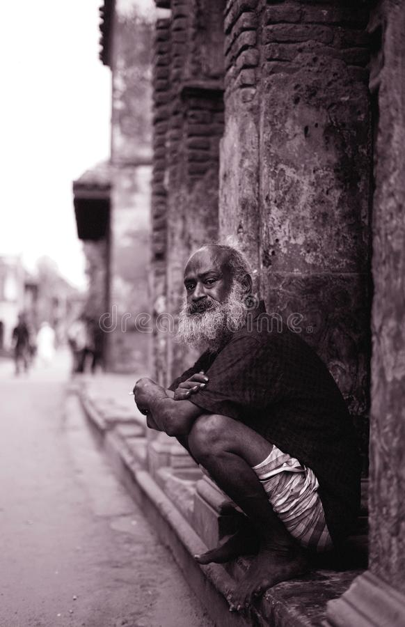 The experienced. An old native living under the ancient ruins of Panam City, Narayanganj, Bangladesh royalty free stock photo