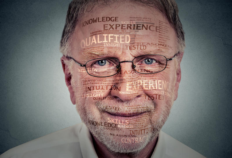 Experienced senior professional. Headshot of a elderly man royalty free stock image