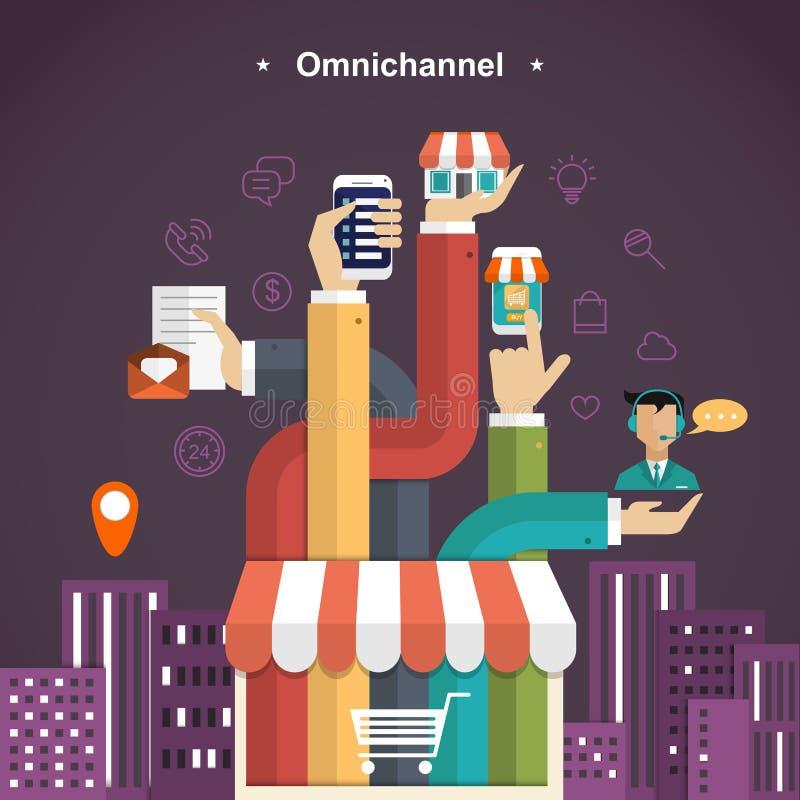 experiencia de compra del omni-canal ilustración del vector