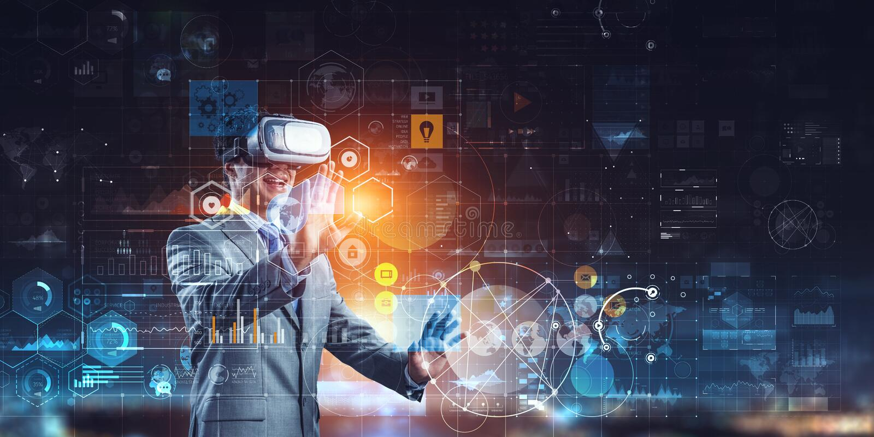 Experiencia de la realidad virtual Tecnolog?as del futuro T?cnicas mixtas fotos de archivo