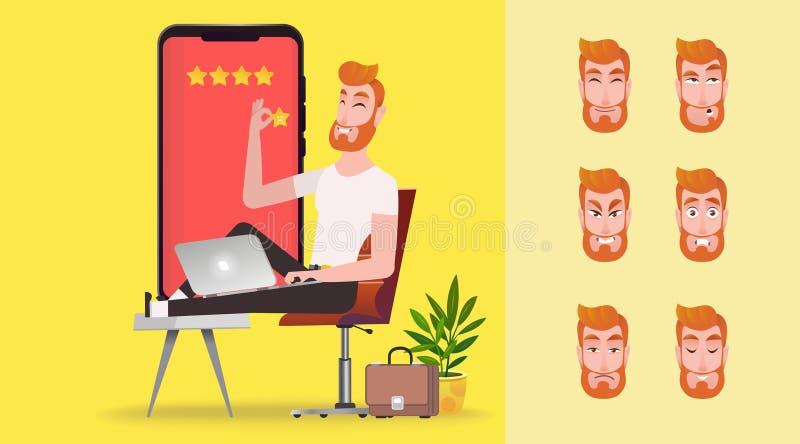 Experiencia del cliente de la CX stock de ilustración