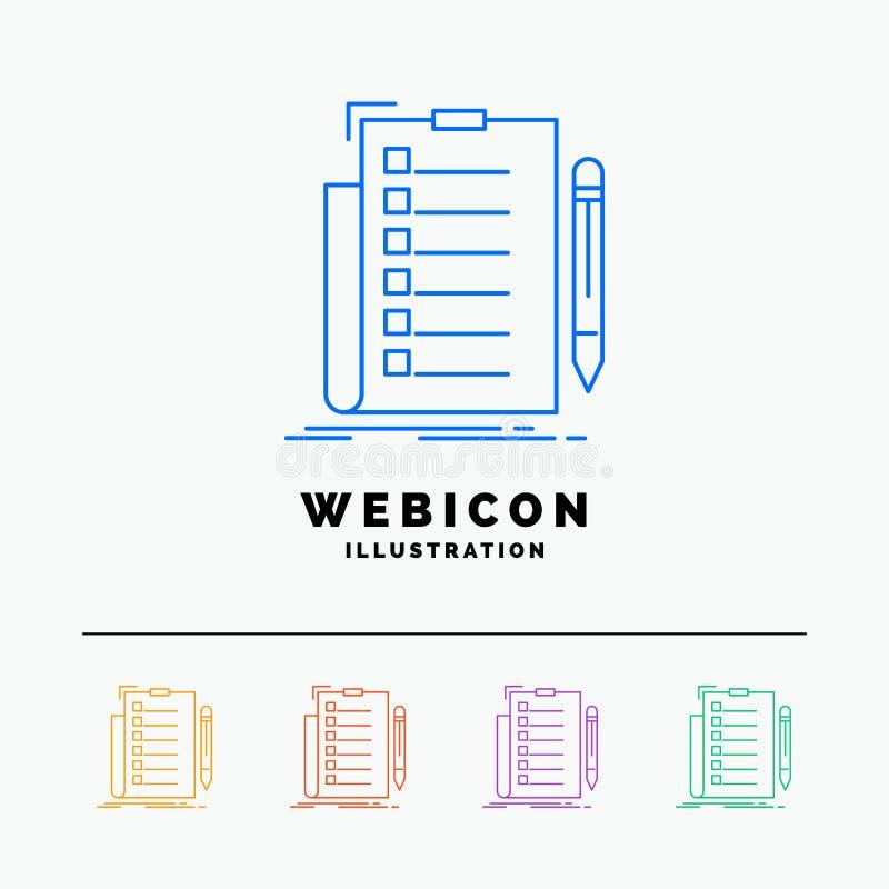 experiencia, lista de control, control, lista, línea de color del documento 5 plantilla del icono de la web aislada en blanco Ilu libre illustration