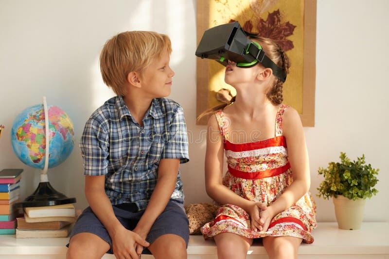 Experiencing virtual reality stock photo