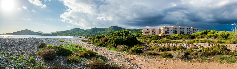 Experimental Beach in Cap Des Falco in Ibiza. Spain royalty free stock image