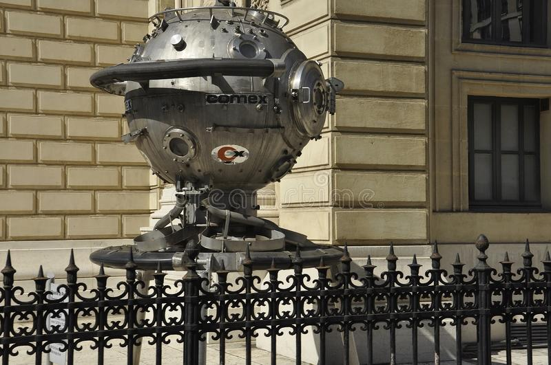 Marseille, 7th september: Experimental Diving Turret for Underwater work near Bourse Palace from Marseille France stock photos