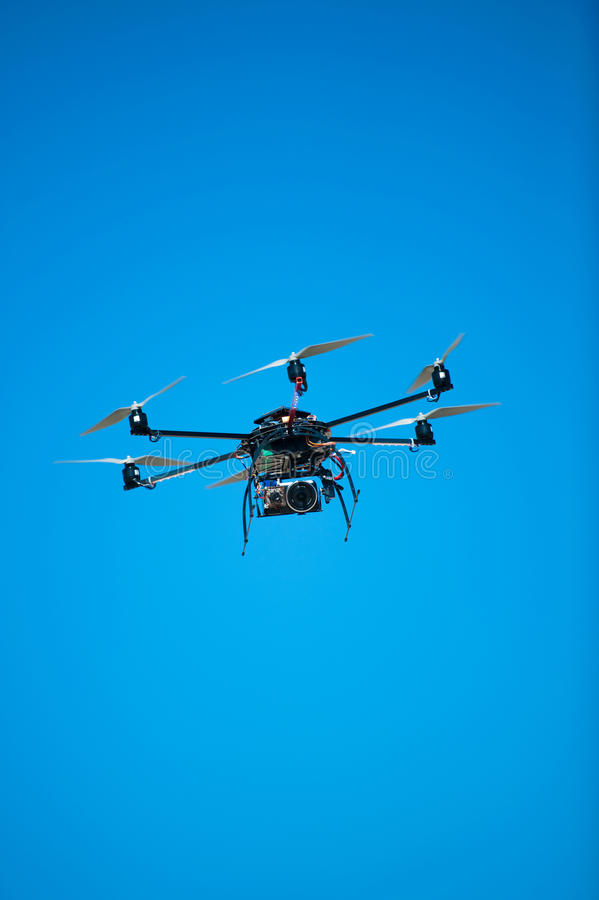 Experimental drone helicopter. Flying overhead royalty free stock photography