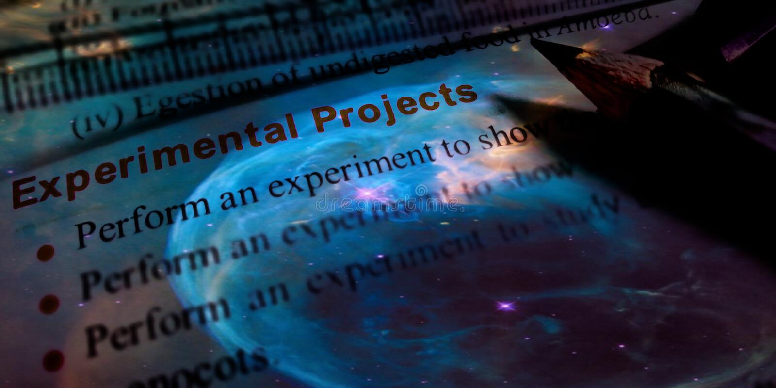 experimental project text presenting with galaxy background illustrations stock photo