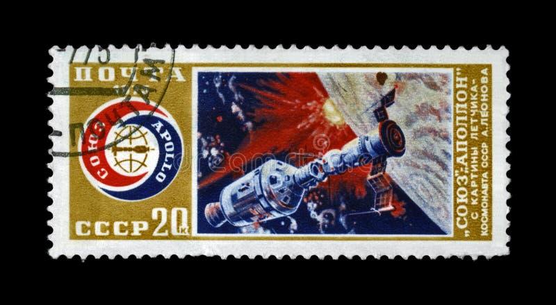 Experimentele vlucht van het ruimteschip van Soyuz en Apollo-, circa 1975, royalty-vrije stock afbeeldingen
