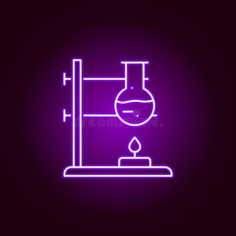 experimentpictogram Elementen van wetenschapsillustratie in het violette pictogram van de neonstijl De tekens en de symbolen kunn royalty-vrije illustratie