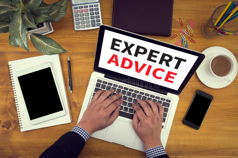 Expert Advice concept, Close up of business man hand working on stock images