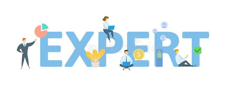 expert Begrepp med folk, bokst?ver och symboler Plan vektorillustration bakgrund isolerad white vektor illustrationer