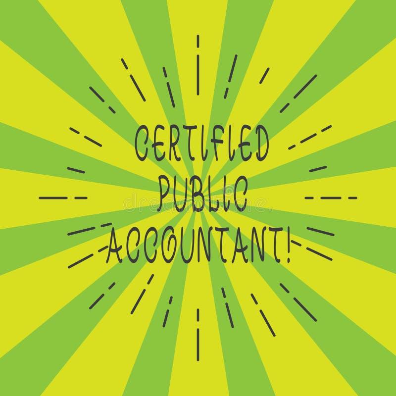 Expert-comptable certifié par texte d'écriture Organisme professionnel accrédité par signification de concept de poutre mince de  illustration stock
