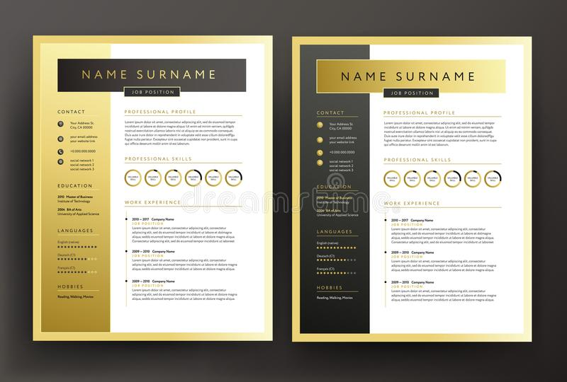 Expert CV / resume template in black and gold colors - professional curriculum vitae vector design royalty free illustration